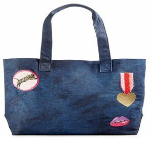 Handbags - Denim Tote Bag With Colorful Patches